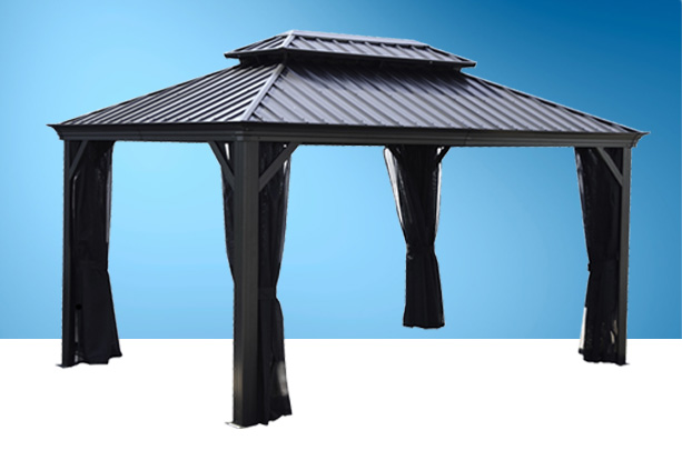 Garden shed: gazebo and sun shelter, Piscines René Pitre