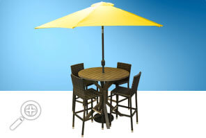Round aluminum and rattan bar set by Piscines René Pitre