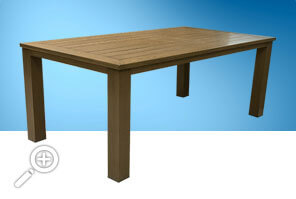 Wood imitation table by Piscines René Pitre